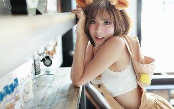 девушка, взгляд, модель, ушки, лицо, азиатка, brode十三
