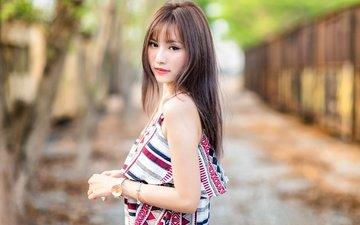 girl, dress, look, hair, face, asian
