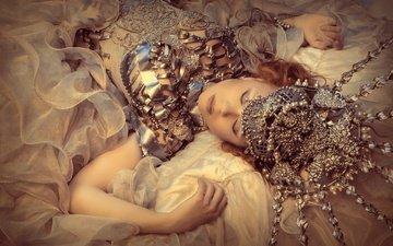 девушка, сон, модель, волосы, украшение, закрытые глаза