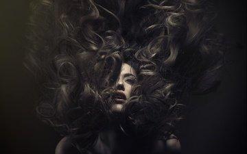 girl, model, hair, lips, face, darkness, an la