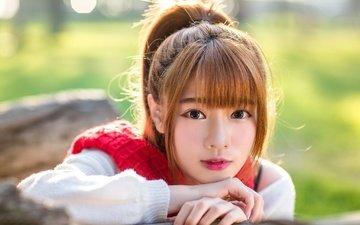 девушка, портрет, взгляд, волосы, губы, лицо, азиатка