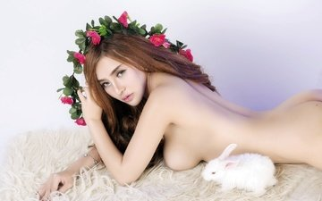 flowers, girl, look, chest, hair, face, rabbit, asian