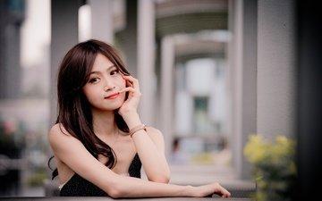 девушка, улыбка, взгляд, модель, волосы, азиатка