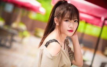 девушка, взгляд, волосы, азиатка