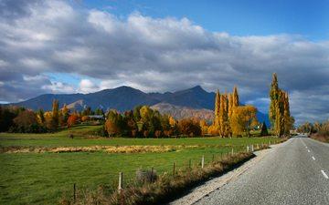 дорога, деревья, горы, природа, пейзаж, осень, новая зеландия, облачно, отаго, квинстаун