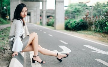 дорога, лето, модель, ножки, волосы, лицо