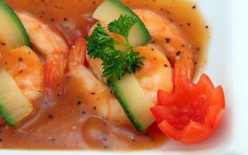зелень, овощи, помидор, соус, морепродукты, креветки, специи