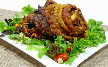 зелень, овощи, мясо, свинина, рулька, свощи