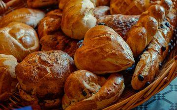 булки, хлеб, выпечка, корзинка, булочки, сдоба