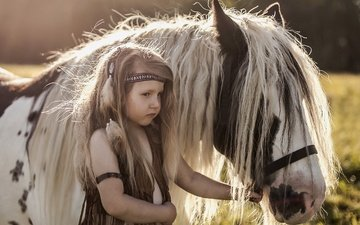 background, look, girl, hair, pony, mane, horse