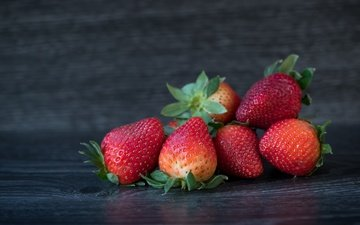 background, strawberry, berries, wooden surface