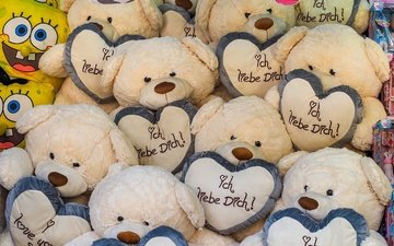 background, bears, toys, hearts, spongebob, teddy bear