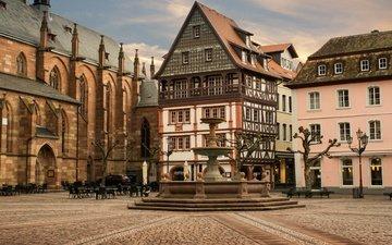 фонари, дома, фонтан, площадь, германия, стулья, столики