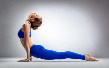 girl, pose, blonde, gymnast, feet, stand, exercises