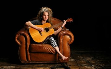 guitar, music, hair, black background, face, chair, marynell