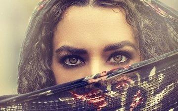 глаза, девушка, взгляд, волосы, лицо, платок