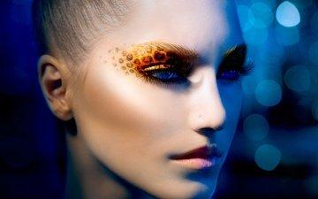глаза, стиль, девушка, взгляд, лицо, макияж, тени, ресницы