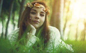 eyes, light, flowers, grass, nature, hand, forest, girl, mood, portrait, look, face, wreath, freckles, brown hair, roses, long-haired