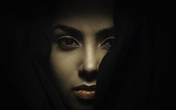 глаза, девушка, модель, волосы, лицо, темнота, violeta sikora