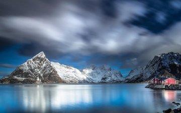 небо, облака, горы, берег, море, дом, норвегия, лофотенские острова, jerry fryer