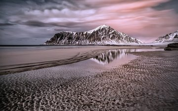the sky, mountains, shore, landscape, sea, sand, beach, norway, darklogan1