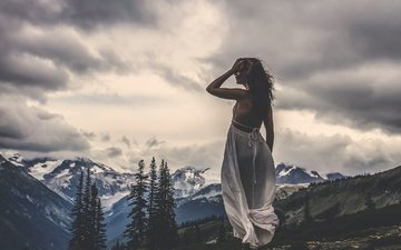 mountains, clouds, girl, the wind, still standing