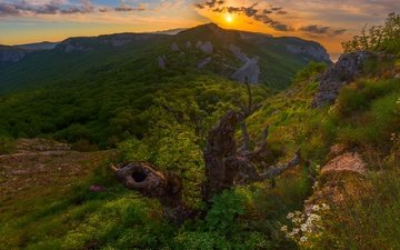 mountains, nature, sunset, russia, snag, space, crimea, the crimean mountains