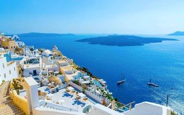sea, islands, greece, santorini