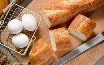 хлеб, багет, яйца, выпечка, батон, французский багет