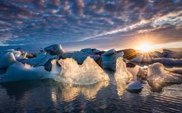 the sky, clouds, water, the sun, rays, ice, iceland, jökulsarlón, glacier lagoon