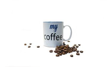 напиток, зерна, кофе, белый фон, чашка, кофейные зерна, аромат