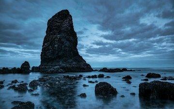 the sky, clouds, stones, sea, rock, usa, oregon, cannon beach