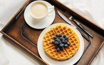 кофе, черника, завтрак, вафли, крем
