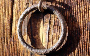 металл, дерево, ручка, дверь, доски, кольцо, крупным планом