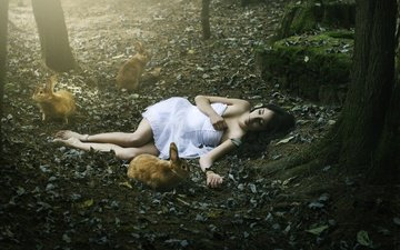 nature, forest, leaves, girl, dress, rabbits, closed eyes