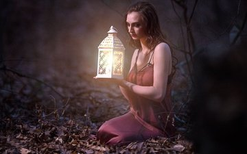 forest, leaves, girl, mood, dress, look, lantern, hair, face, closed eyes