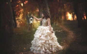 trees, nature, forest, girl, mood, dress, path, lights, flashlight