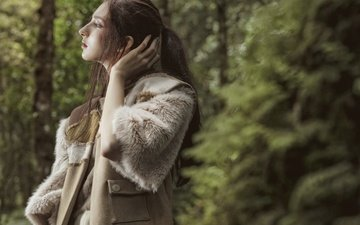 trees, forest, style, girl, look, profile, hair, face