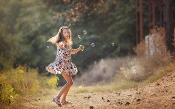 настроение, платье, лето, девочка, мыльные пузыри