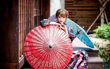 девушка, взгляд, волосы, лицо, макияж, азиатка, зонтики, chang