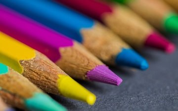 macro, background, colorful, color, pencils, colored pencils