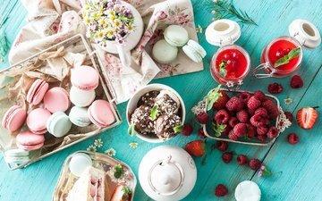 малина, мороженое, джем, ромашки, ягоды, шоколад, сладкое, печенье, десерт, пирожное, макарун