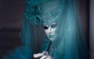 девушка, маска, модель, костюм, шляпа, вуаль