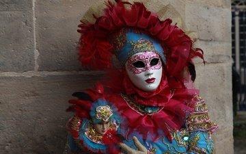 девушка, маска, модель, перья, костюм, карнавал