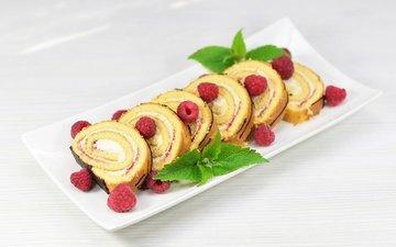мята, малина, ягоды, выпечка, десерт, рулет, крем