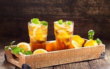 mint, drink, food, ice, tea, glasses, tray, lemons, lemonade