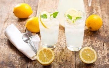 мята, напиток, фрукты, лёд, стаканы, кувшин, лимоны, цитрусы, фреш, лимонад