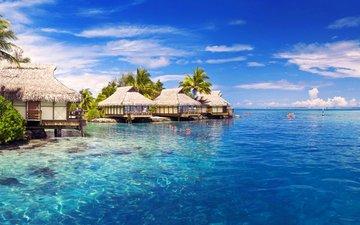 море, бунгало, тропики