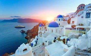 sea, ship, the city, island, greece, tyre