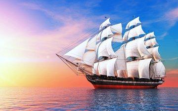 море, корабль, паруса